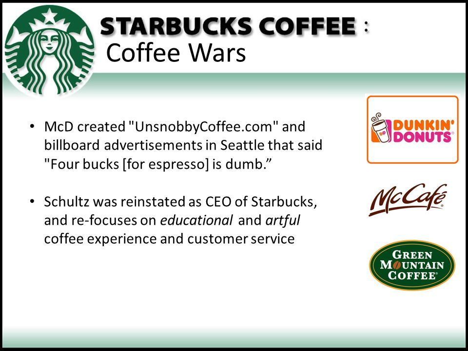 Coffee Wars McD created UnsnobbyCoffee.com and billboard advertisements in Seattle that said Four bucks [for espresso] is dumb.